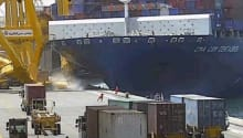 Incident Video: CMA CGM Containership Hits Pier in India